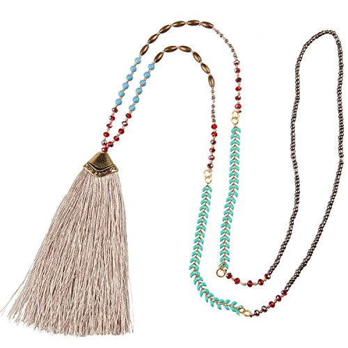 KELITCH Synthetic Turquoise Crystal Beaded Strand Necklace Long Tassel Layering Style Pendant Women New Jewelry (Grey) ()
