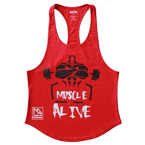 MUSCLE ALIVE Mens Bodybuilding Stringer Tank Tops Cotton Racerback Arch Hem Red Color Size (Arch Red Cotton)