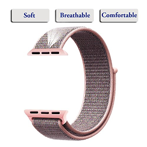 For Apple Watch Band,Yunsea New Nylon Sport Loop with Hook and Loop Fastener Adjustable Closure Wrist Strap Replacment Band for iwatch,38mm,Pink Sand by Yunsea (Image #1)