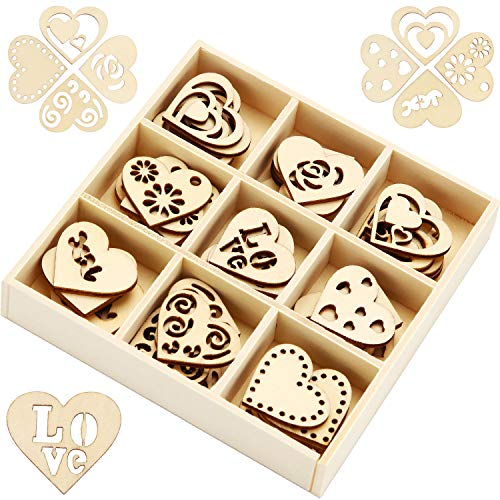 45 Pieces Wooden Ornaments Heart Wood Embellishments Crafts Set Hollow Design with Storage Tray, Mini Laser Cut Heart Shape for Valentine's Day and Wedding Decorations Kits