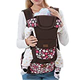 Baby Carrier Multi-Position Soft Structured Sling w/ Adjustable Straps & Comfort Padding for Infant/Toddler Hip Support Brown