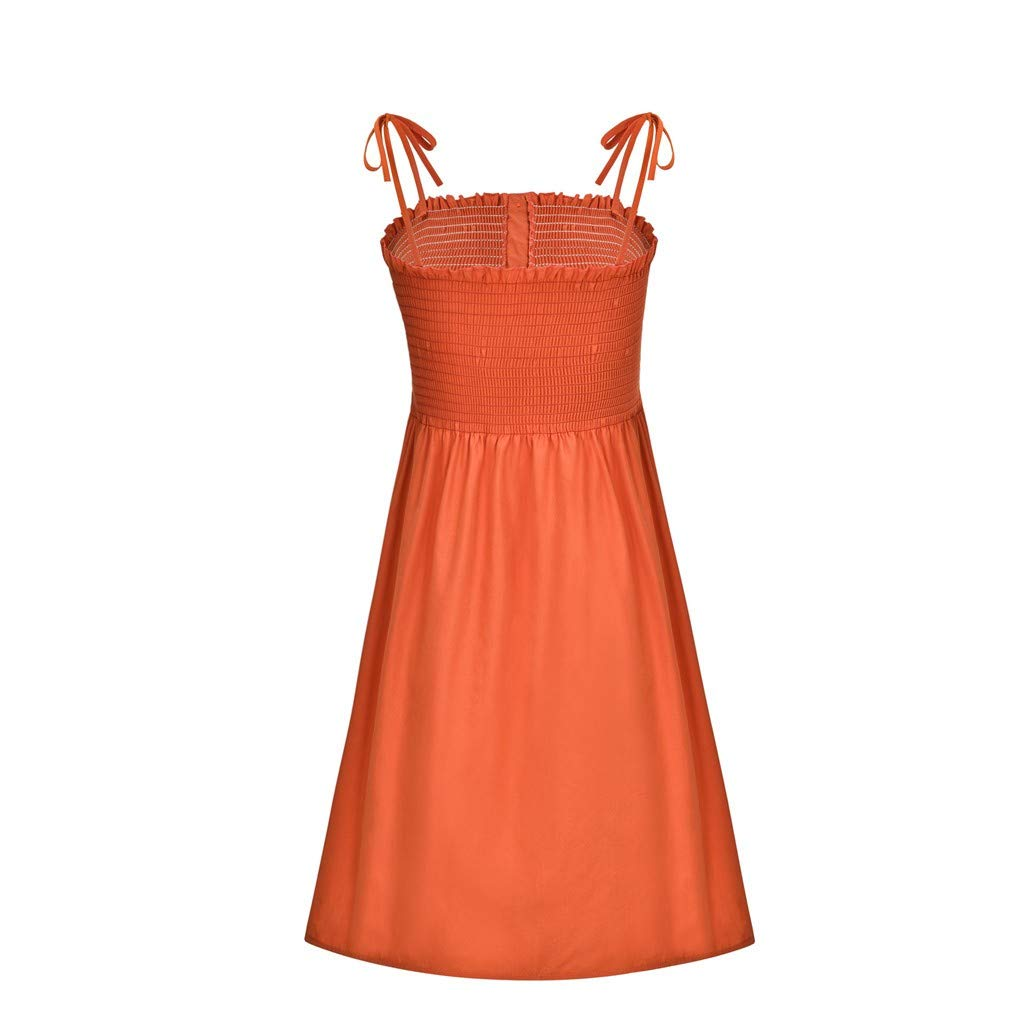 Suma-ma Womens Fashion Tunic Dress Solid Color Bind Buttons Sling Sundress Casual Mini Beach Dress