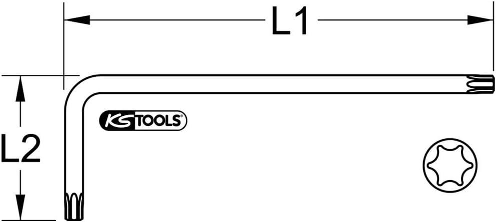 KS Tools 151.2350 Torx-Winkelstiftschl/üssel T30 kurz