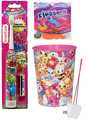 Shopkins Oral Hygiene Children's Powered Toothbrush, Plackers Fruit Smoothie Swirl Flossers with Fluoride and Shopkins Mouthwash Rinse Cup Bundle! ()