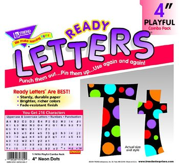 Neon Dots Ready Letters (Neon Dots Ready Letters 4In Upper Lowercase Combo -- Case of 5)