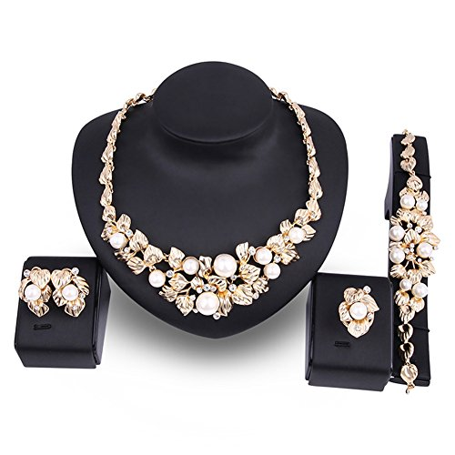 Costume Jewellery Pearls (EVERRICH Crystal Bridal Cream Simulated Pearl Gold Plated Statement Necklace Earrings Jewelry Sets for Women Costume,4 Pairs)