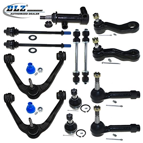 DLZ 13 Pcs Front Kit-Upper Control Arm Lower Ball Joint Tie Rod End Sway Bar Pitman Arm Idler Arm Idler Arm Assembly Compatible with Chevrolet Tahoe Silverado/GMC Sierra 1500 Yukon K8987 ES3493T ()