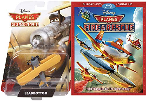 Leadbottom Disney Planes Move & Toy High Flying Fun Fire & Rescue DVD + Blu Ray & Propeller Biplane Character Bundle