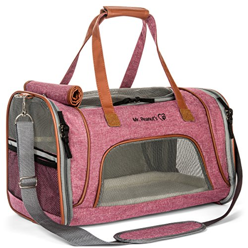 - Mr. Peanut's Airline Approved Soft Sided Pet Carrier, Low Profile Travel Tote with Fleece Bedding, Premium Zippers & Safety Clasps, Under Seat Compatibility, Perfect for Cats and Small Dogs