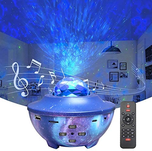Star Projector Galaxy Light Projector, Night Light Projector with Music Speaker, Ocean Wave Projector Starry Projector with Voice Control and Timer for Kids & Adults/Bedroom/Party/Home Decor