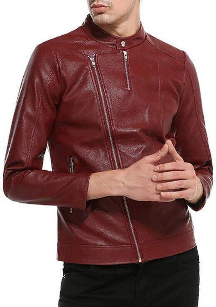 Heless Men Faux Leather Slim Oblique Zip Front Motorcycle Jacket Coat Outwear