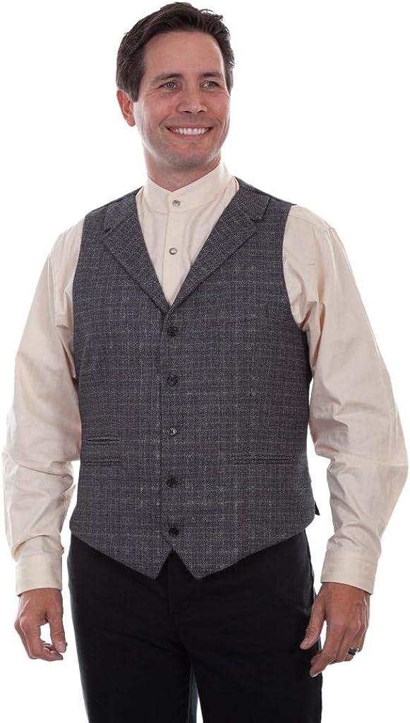 Men's Vintage Vests, Sweater Vests Scully Western Vest Mens Old West Notched Lapel Button Gray F0_RW314 $66.10 AT vintagedancer.com