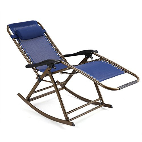 Zero Gravity Rocking Chair with Headrest Folding Reclining Chair for Garden, Lawn, Camping, Pool, Patio, Porch, Home, Office (Navy blue)