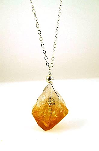 Amazon citrine amethyst quartz crystal point pendant necklace citrine amethyst quartz crystal point pendant necklace on 18 inch sterling silver chain golden amber gemstone aloadofball Image collections
