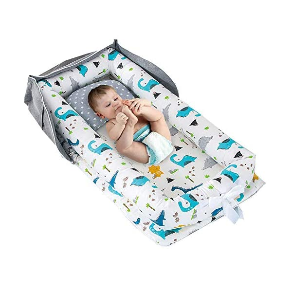 Baby Bassinet for Bed -Blue Dinosaur Baby Lounger – Breathable & Hypoallergenic Co-Sleeping Baby Bed Baby Nest – 100% Cotton Portable Crib for Bedroom/Travel(0-24 Months)