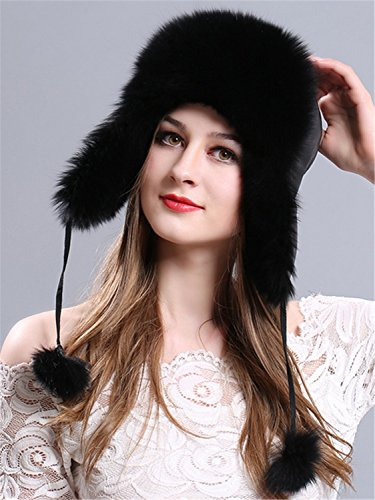LITHER Women's Winter Trapper Bomber Hat Genuine Fox Raccoon Fur Russian Ushanka Hat