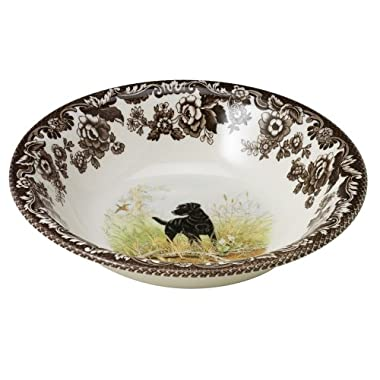 Spode Woodland Hunting Dogs Black Labrador Cereal Bowl