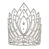 Fufeng Crown Starry Rhinestone Beauty Queen Crowns And Tiaras 9' Heigh, Clear, BIG