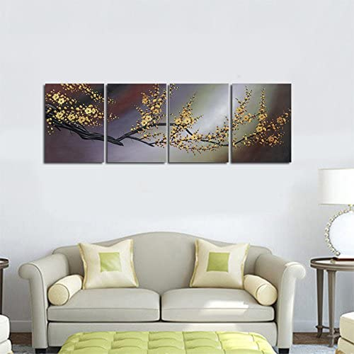 Wieco Art – Plum Blossom Hand-Painted Oil Paintings, Stretched and Framed Modern Canvas Wall Art Wall Decor Floral Oil Painting on Canvas for Home Decor 20x24inchx4pcs set