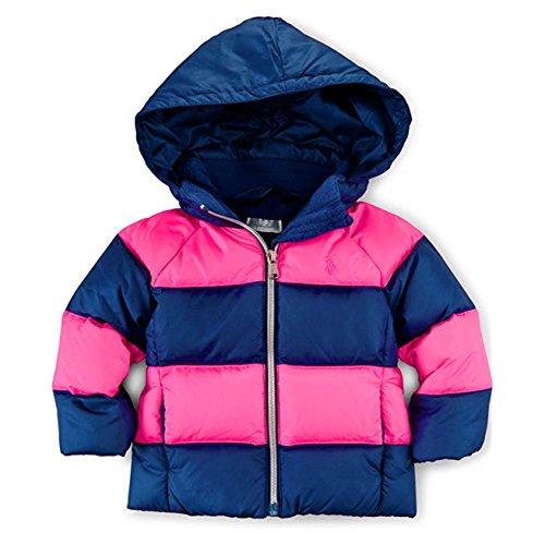 Ralph Lauren Polo Baby Girls Down Puffer Jacket NEON PINK BLUE (3M)