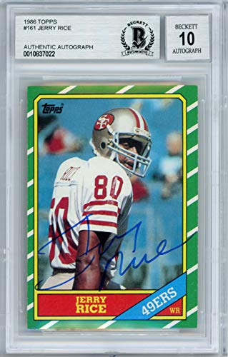 1986 Topps Autographed Card - Jerry Rice Autographed 1986 Topps Rookie Card #161 San Francisco 49ers Gem Mint 10 Beckett BAS #10837022