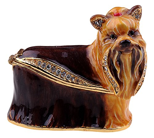 Jewelled Yorkshire (Yorkie) Terrier enameled trinket box