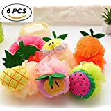 Splashmazing Kids and Baby Bath Shower Toy Sponge Pouf, exfoliating, deep Cleansing, Funny Multicolor Fruit Shape - Pack of 6