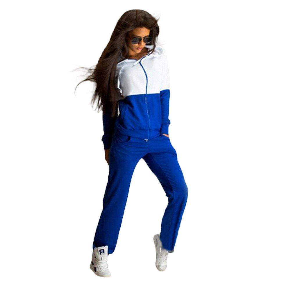 Verypoppa Women's Hooded Zip up Sweatshirt + Sweatpants Tracksuit (US M, Blue)