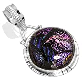 Solid 925 Sterling Silver Pendant Dichroic Glass Gemstone Handcrafted Jewelry