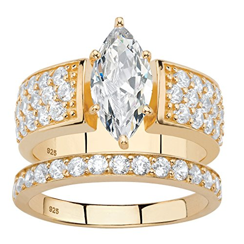 Marquise-Cut White Cubic Zirconia 14k Gold over .925 Silver 2-Piece Bridal Ring Set Size 10 ()