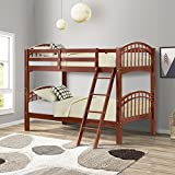 Harper&Bright Designs Bunk Bed Twin-Over-Twin Solid Wood Bunk Beds (Walnut)