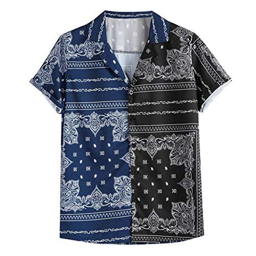 Blouse for Man Classic Comfy Summer Fashion Casual Lapel Print Short Sleeve Shirt Top Blouse ()