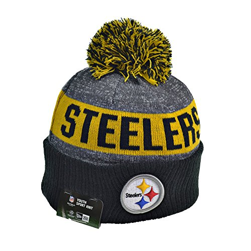 YOUTH (8-18 YRS) Authentic NFL Football Beanie Hats 2016 New Era Official Sideline On Field Junior Sport Knit Cap Team Color Unisex For Boys & Girls (One Size, Pittsburgh (Nfl Football Beanie Caps)