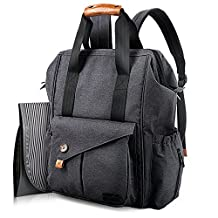 Hap Tim Multifunction Baby Diaper Bag Backpack W Stroller Straps Insulated Pockets Changing Pad Included, Nylon Fabric Waterproof for Moms Dads 5279 DarkGray