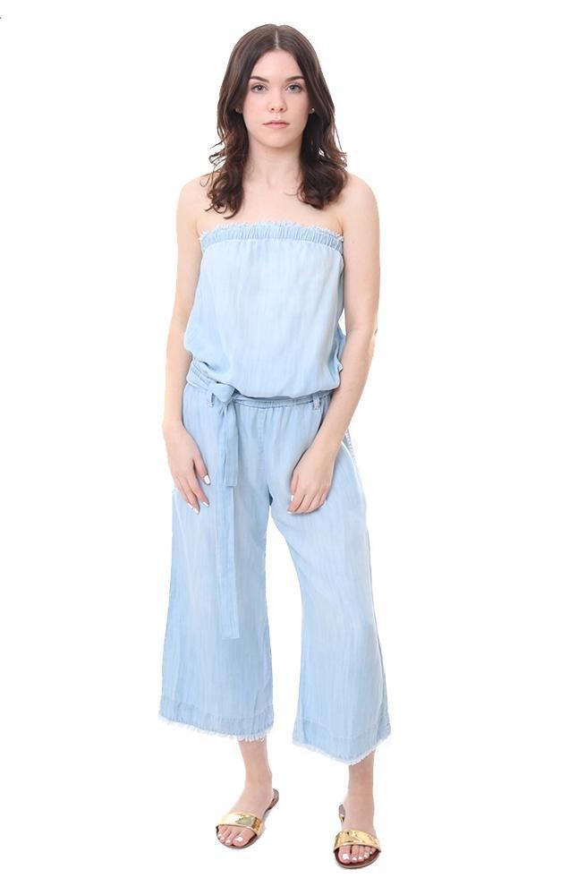 Bella Dahl Jumpsuits Strapless Frayed Wide Leg Denim Jumper - Blue - L