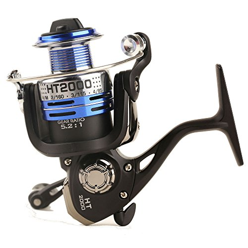 Entsport Spinning Reel Metal Spool Spinning Fishing Reel Saltwater/Freshwater Spin Fishing Reel Right/Left Retrieve Inshore Spin Reel (2000 Series) (Inshore Spin Combo)