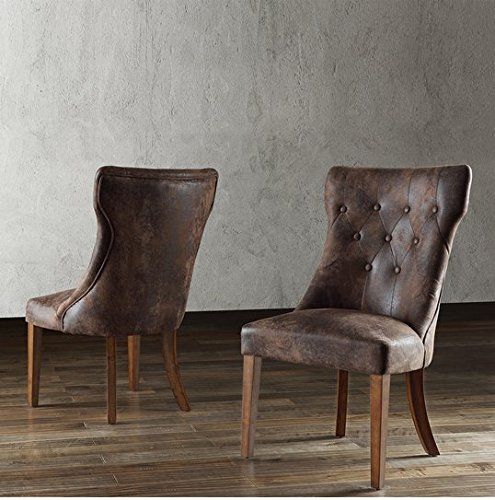 TRIBECCA HOME Atelier Traditional French Burnished Brown Oak Tufted Contemporary Upholstered Dining Chair (Set of 2)