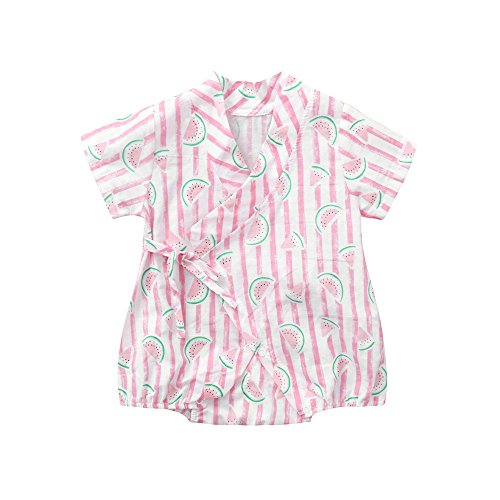Wesracia Summer Baby Boys Girls Lemon Apple Print Kimono Short Sleeve Tie Romper (Red2, 66)