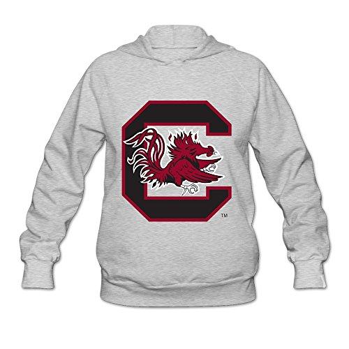 South Carolina Gamecocks Block C Logo Hot 100% Cotton Ash Long Sleeve Hoodie For Womens Size XL