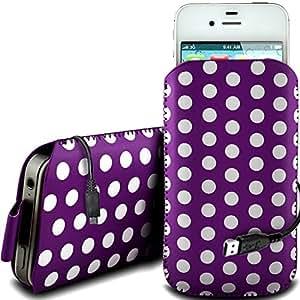 Online-Gadgets UK - Sony Xperia Miro protección pu Polka de cuero con cremallera diseño antideslizante de cordón en la bolsa del caso con el cable de liberación rápida y Datos USB de carga - Purple