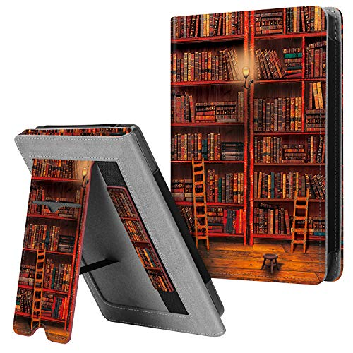 "Fintie Stand Case for Kobo Clara HD 6"" eReader - Premium PU Leather Protective Cover with Card Slot, Hand Strap and Auto Sleep/Wake Function (Library)"