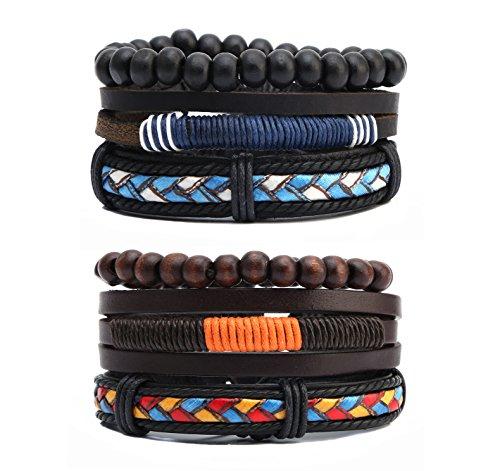 HZMAN Mix 3 Wrap Bracelets Men Women, Hemp Cords Wood Beads Ethnic Tribal Bracelets Leather Wristbands