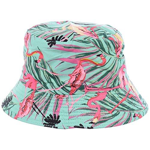 BYOS Fashion Packable Reversible Black Printed Fisherman Bucket Sun Hat, Many Patterns (Wild Fuchsia Flamingo Mint)