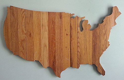 United States silhouette made of oak wood flooring by Paw-Lick Design