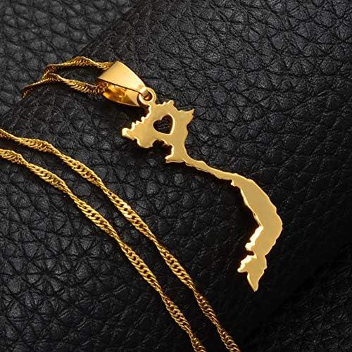 SWAOOS Vietnam Pendant Necklace for Women//Men Gold Color Jewelry Map of Vietnam Chain