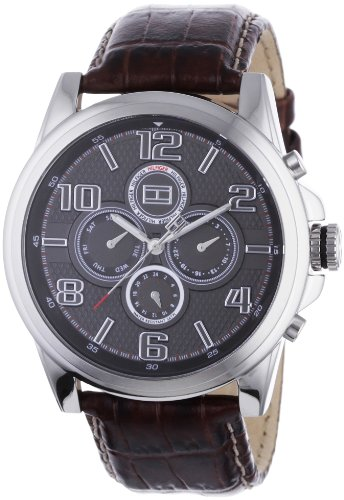 Tommy Hilfiger Multifunction Leather Strap Black Dial Men's watch #1710242