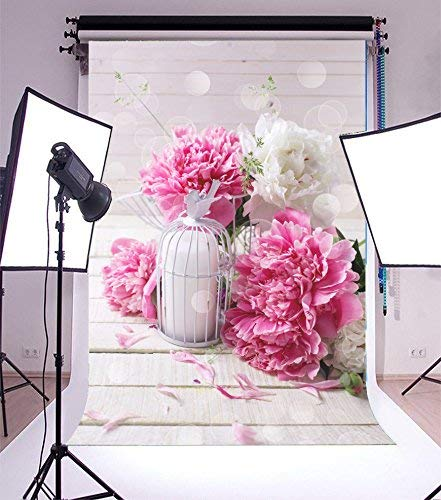 (SZZWY 5x7ft Vinyl Photography Backdrop Pink Fresh Peonies Flowers and Decorative Candle Lantern Petals Bokeh Sparkle Sequins Romantic Wedding Wood Board Photo Background Elegant Children)