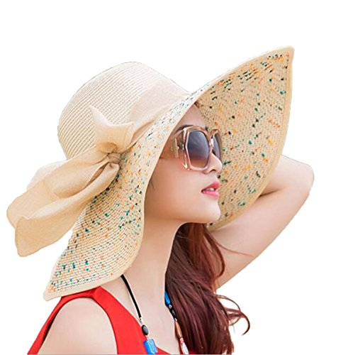 raw Sun Hat Floppy Foldable Roll up UV 50+ Beach Cap (Color-4) ()