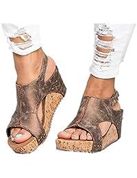 Women Sandals Wedges Peep Toe PU Belt Buckle Rivet Blocking Hook-Loop Fashion Wedges Sandals Summer Shoes