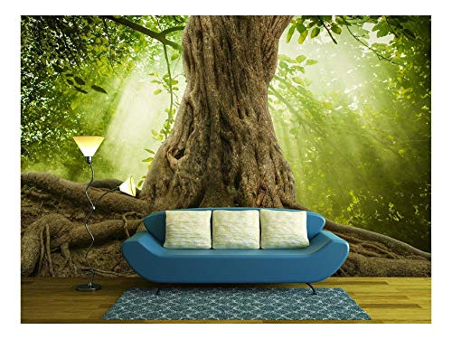 - wall26 - Big Tree Roots and Sunshine in a Green Forest - Removable Wall Mural | Self-Adhesive Large Wallpaper - 100x144 inches